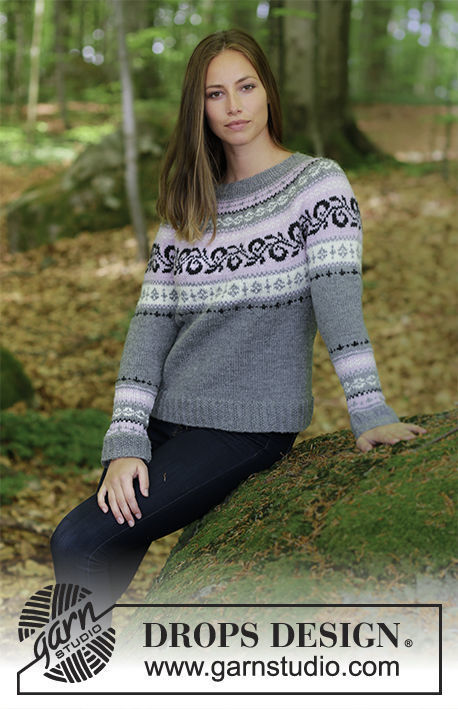 Girls (teen) and women's pullover Telemark. Free knitting pattern (norwegian).