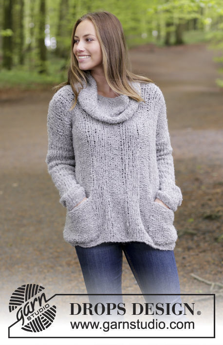 Girls (teen) and women's pullover Wellness. Free knitting pattern (pocket patch).