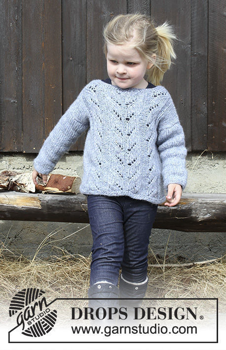 Girls (toddler, children) knit pullover Julie. Free pattern (lace).