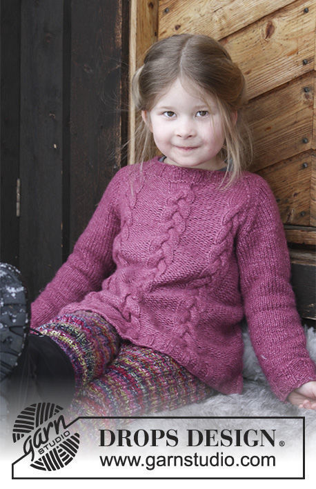 Girls (toddler, children) pullover Ylva. Free knitting pattern (raglan).