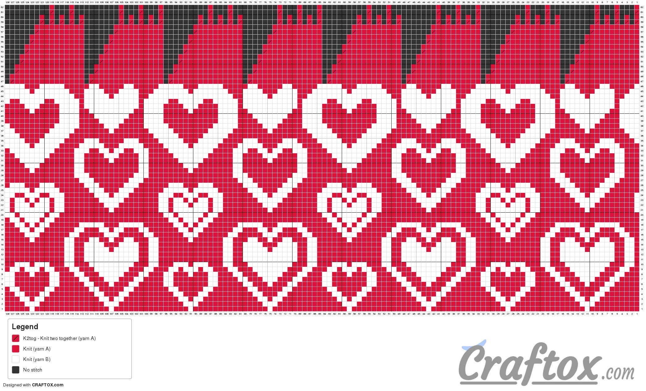 """Pattern chart: Heart hat """"Romantic"""" free knitting pattern"""