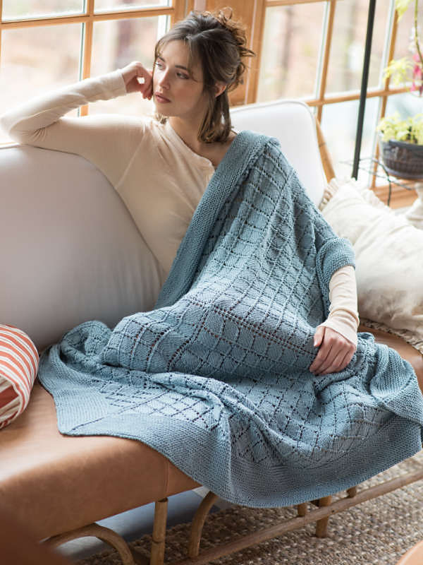 Knit blanket Cunningham. Free pattern (shapes: square; lace).