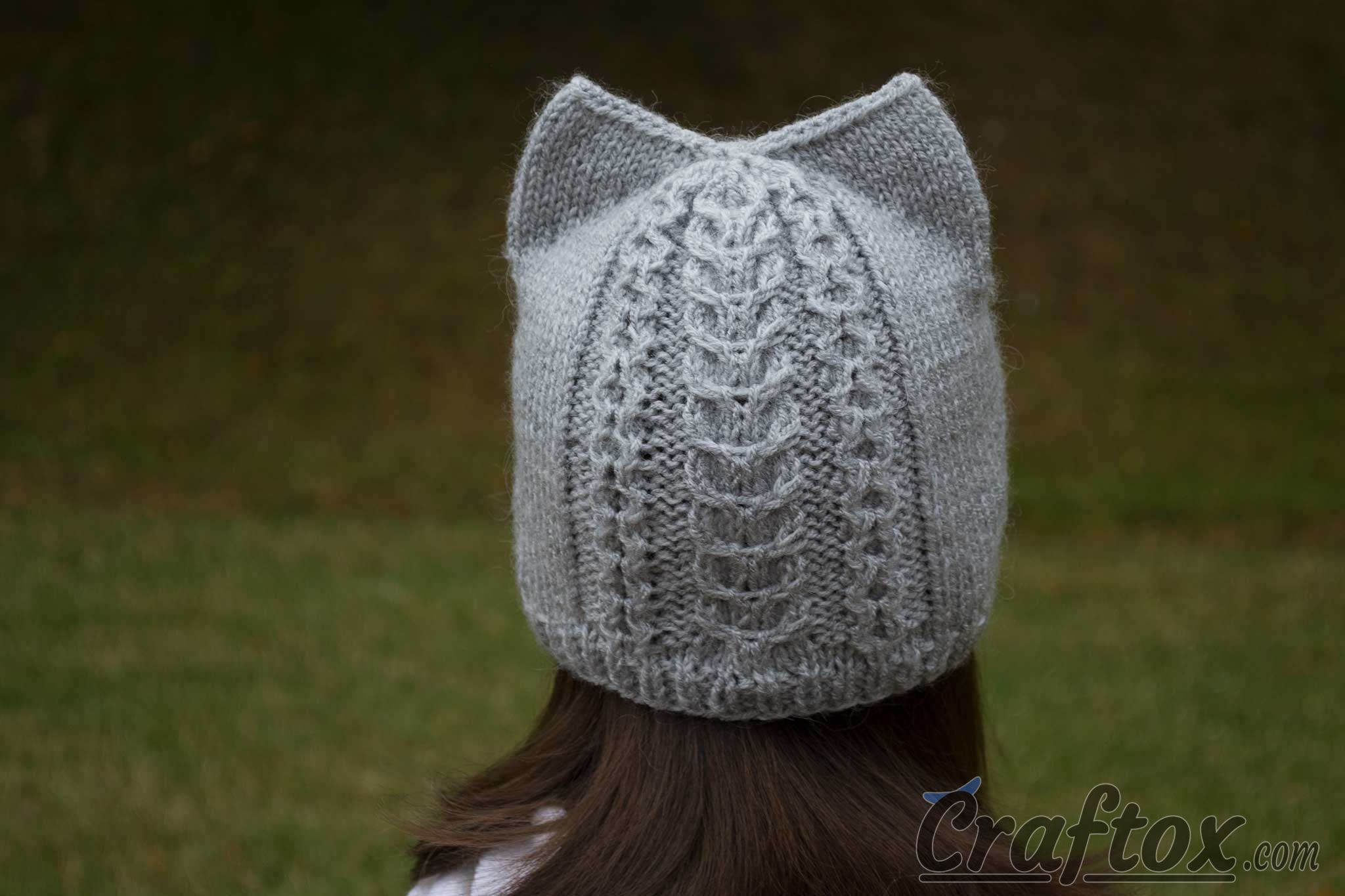Knit cat ear hat. Back view.