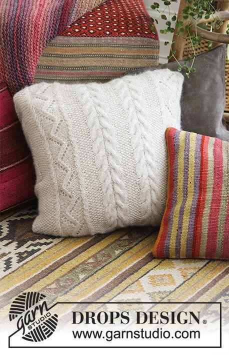 Knit pillow Elegant Comfort. Free written pattern (chart, video tutorial).