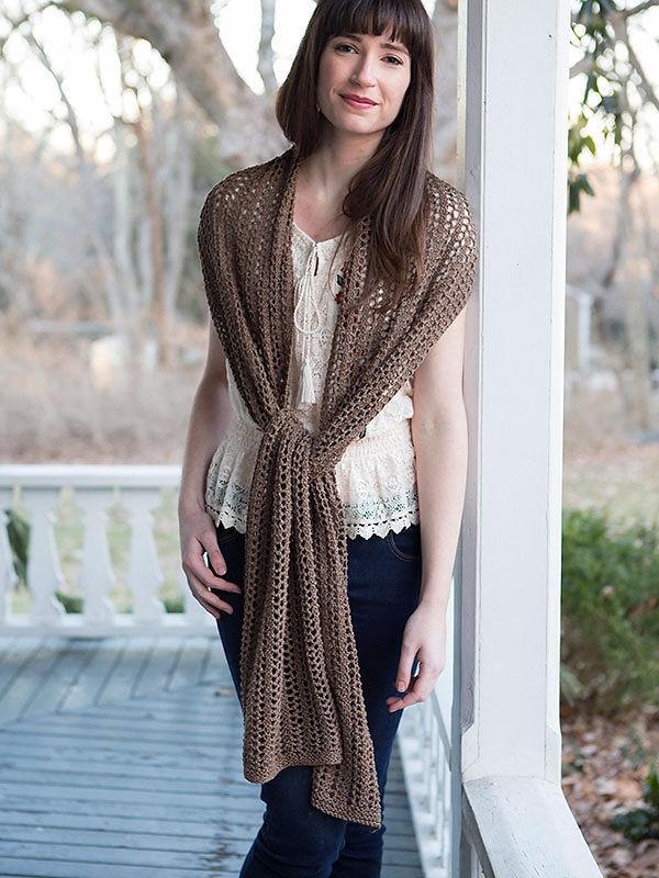 Knit scarf Adrift. Free pdf easy pattern (lace).