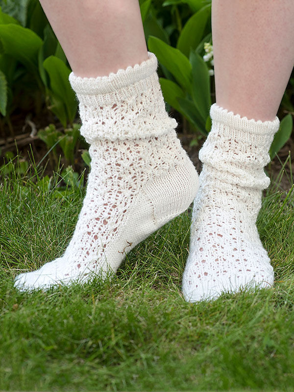 Knit socks mid calf Julie. Free pattern (lace).