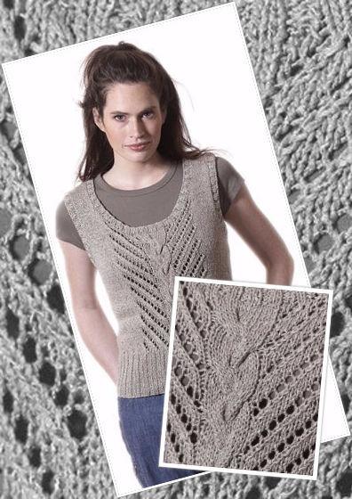 Knit women's sleeveless top Badia. Free pdf pattern.
