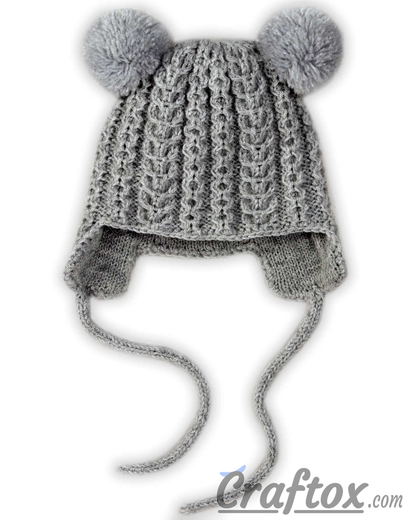 Knit Pom Pom Hat Pattern : Knitting winter hat with pom poms for kid. Free pattern