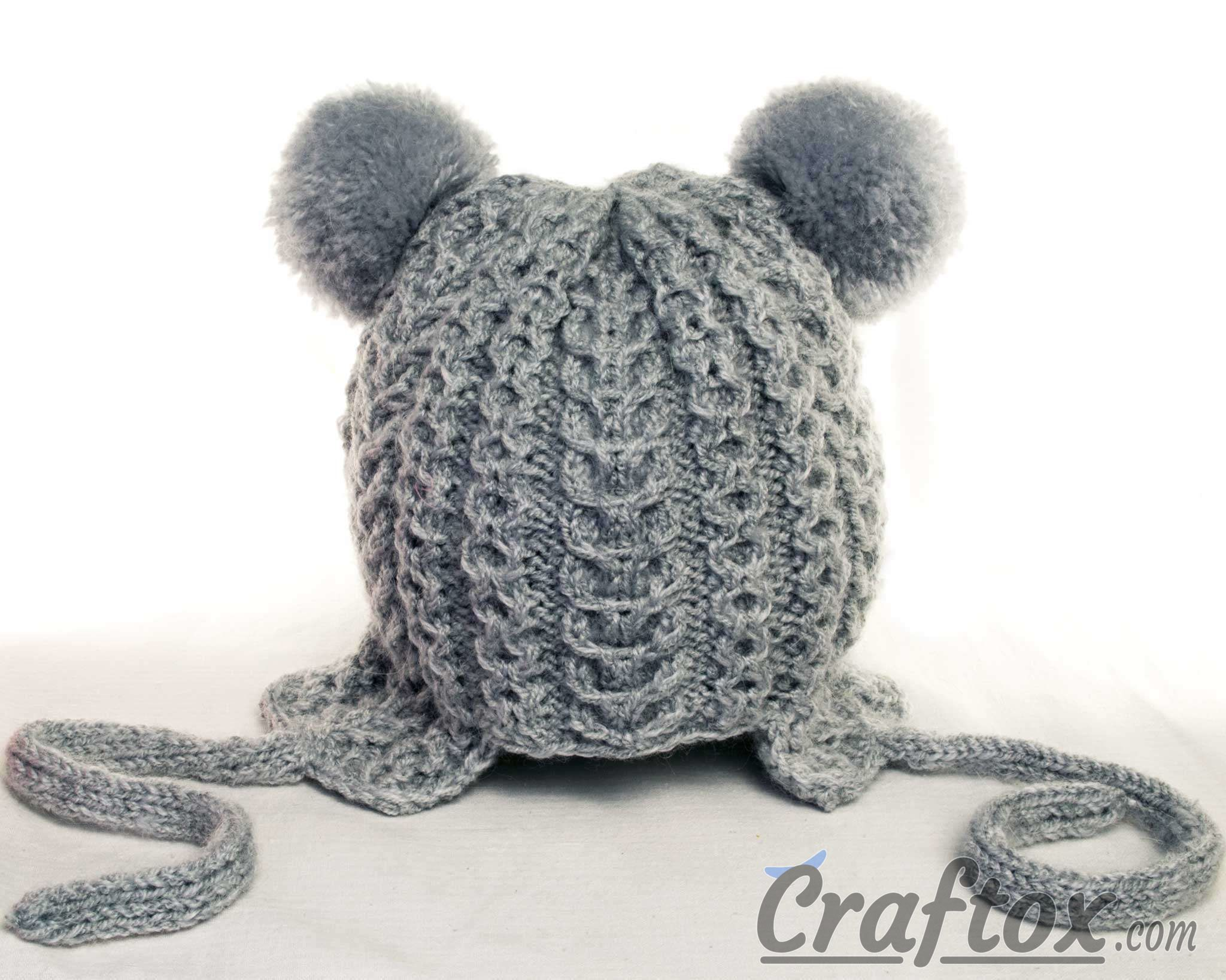 Knitting Pattern For Hat With Pom Pom : Knitting winter hat with pom poms for kid. Free pattern
