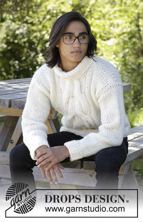Men's and boys (teen) pullover Cozy Weekend. Free knitting pattern (cables).