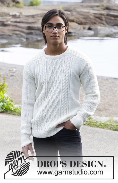 Mens knit pullover Siberia. Free pattern (cables, ribbed ribbing, textured).