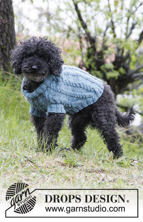 Pet clothing Barking Cables. Free easy knitting pattern (ribbed ribbing; collared).