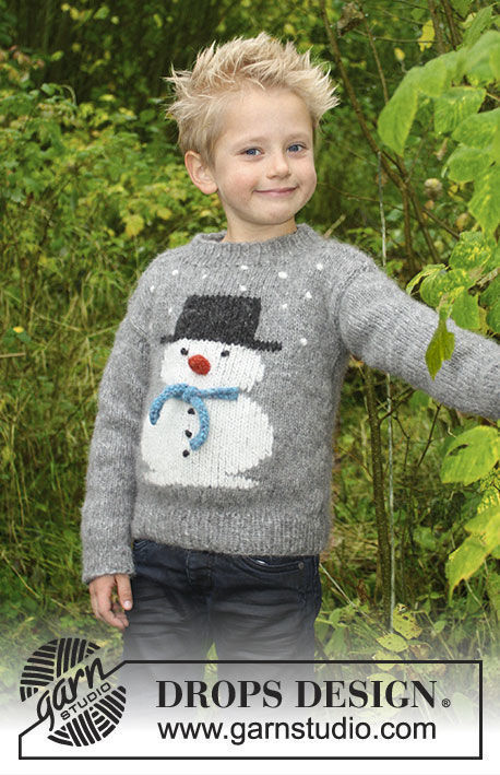Pullover Frosty's Christmas Kids. Free easy knitting pattern.