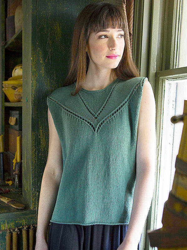 Sleeveless top Admit. Free knitting pattern to download pdf (lace).