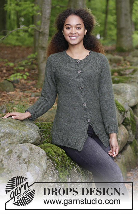 Teen knit cardigan Woodland Walk Jacket. Free pattern (raglan; textured).