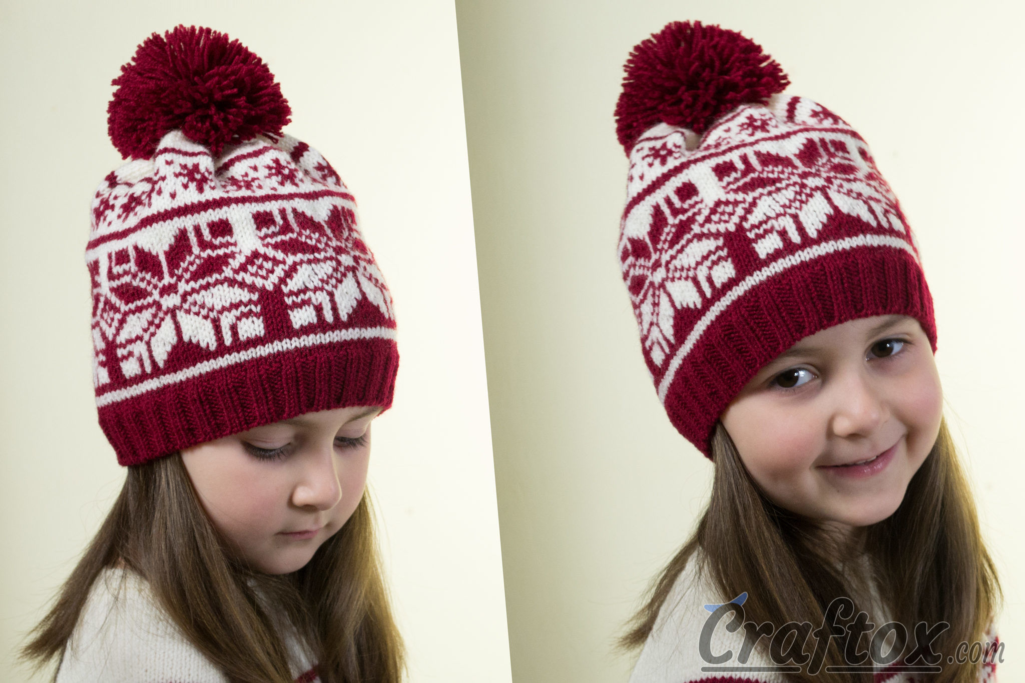 Beanie and dress set for a 5-6-year-old girl. Free Jacquard knitting pattern.
