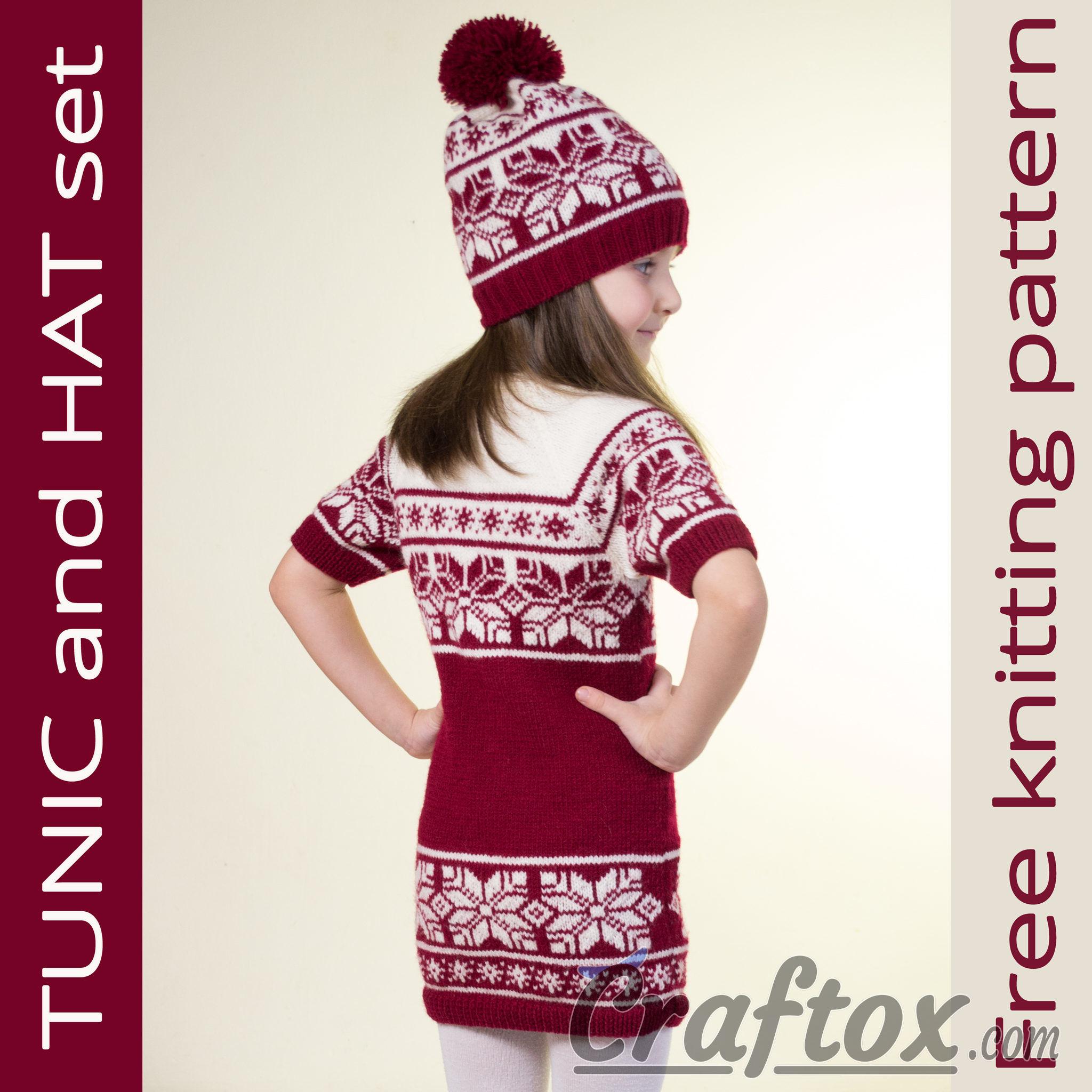 Tunic (dress) and hat set. Free Jacquard knitting pattern.