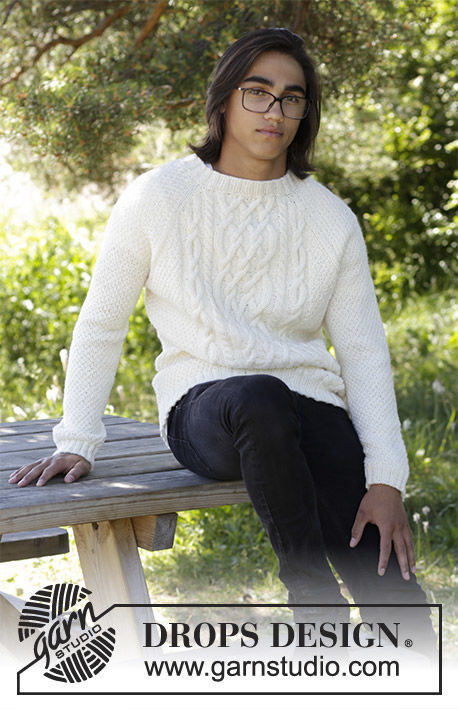 Unisex (adult, teen) pullover Aure. Free knitting pattern (crew neck; cables, ribbed ribbing).