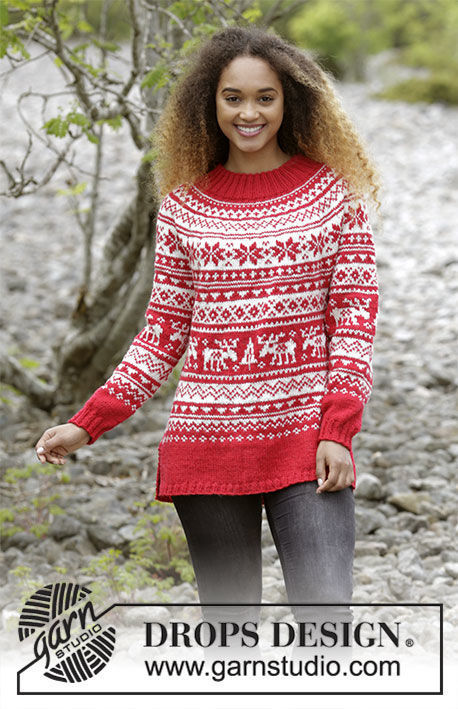 Unisex knit pullover Season Greetings. Free pattern (norwegian).