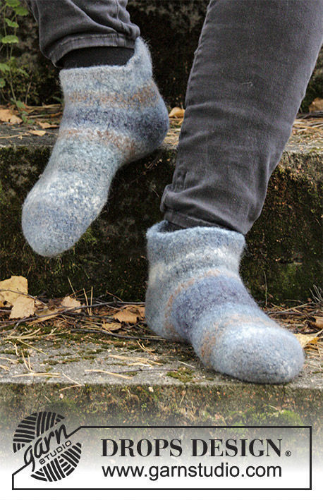 Unisex knit slippers Eiger. Free easy pattern (Sock techniques: seamed sock, top cuff down).