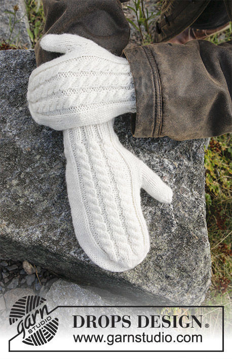 Unisex mittens Morgenfrost. Free knitting pattern (cables, ribbed ribbing).