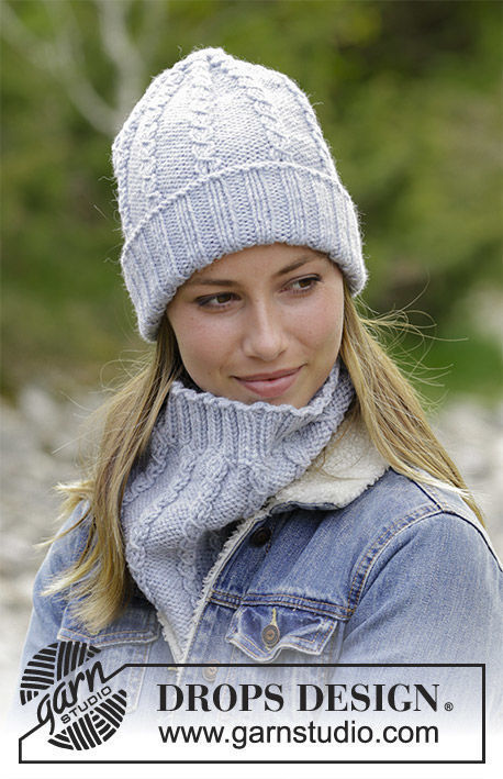 Unisex (teen, adult) collar Sugar Twists. Free knitting pattern (cables, ribbed ribbing).