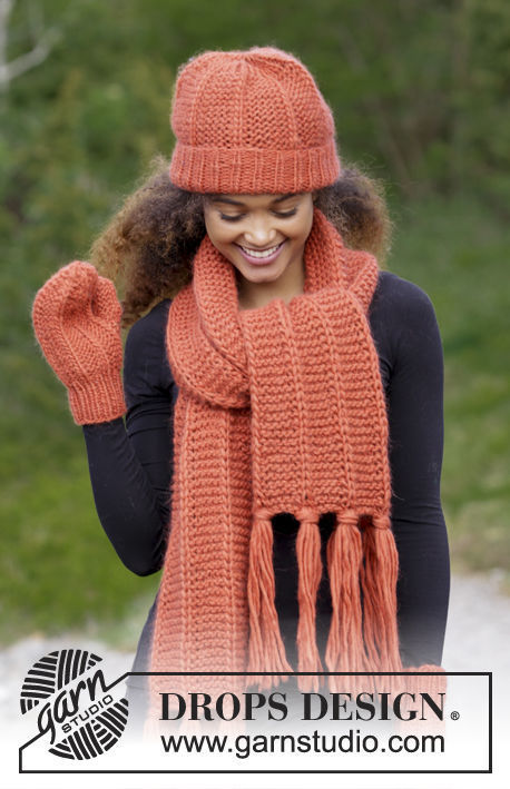 Unisex (teen, adult) knit scarf Tangerine. Free pattern (fringe, shapes: rectangle).
