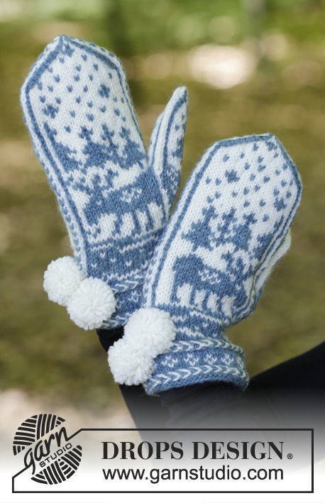 Unisex (teen, adult) mittens Moose on the Loose. Free knitting pattern (norwegian).
