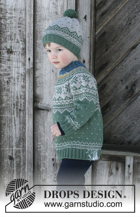 Unisex (toddler, children) knit pullover Seiland Jumper. Free pattern (norwegian).