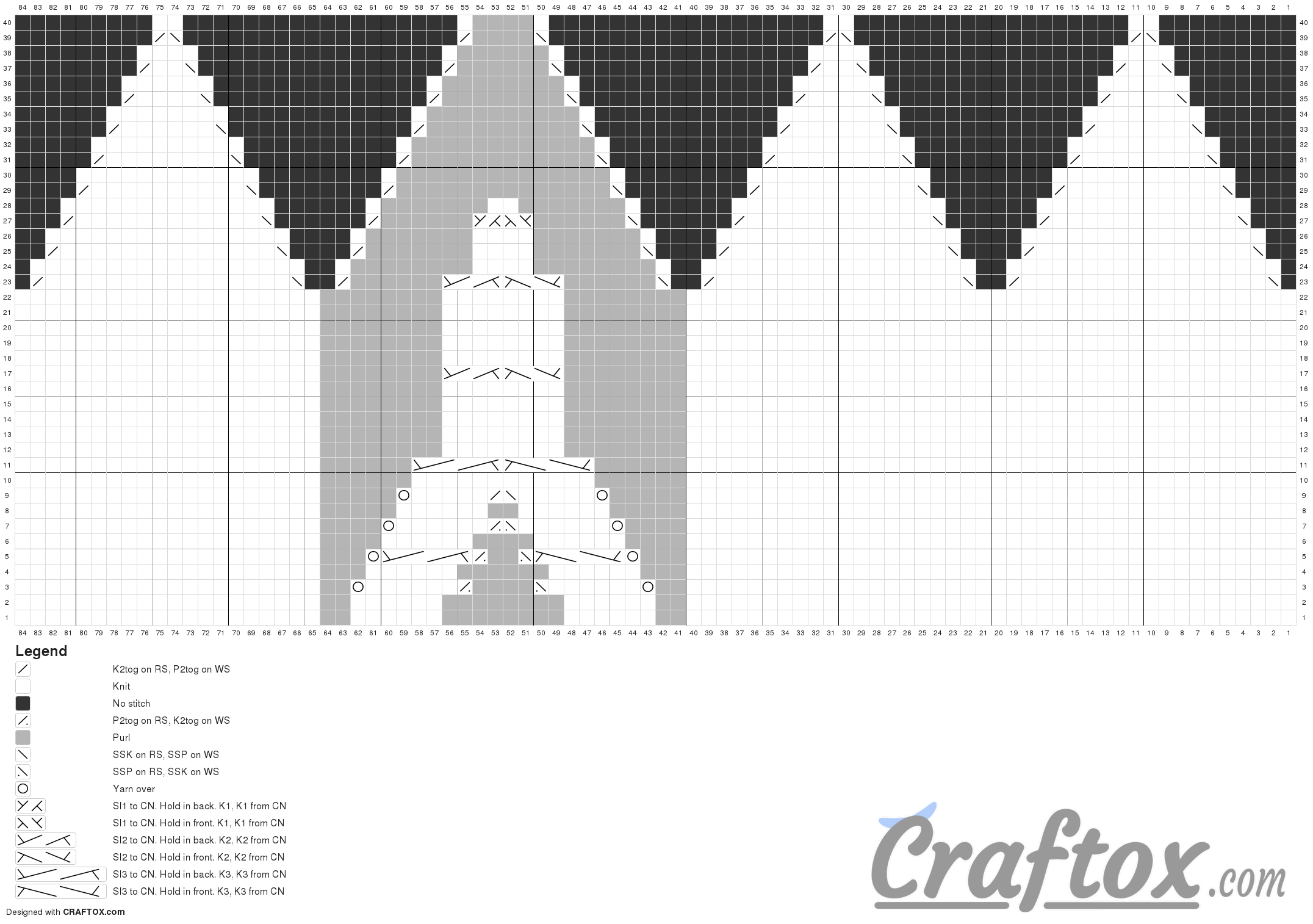 Pattern chart 1. White beanie with tower (knitting)