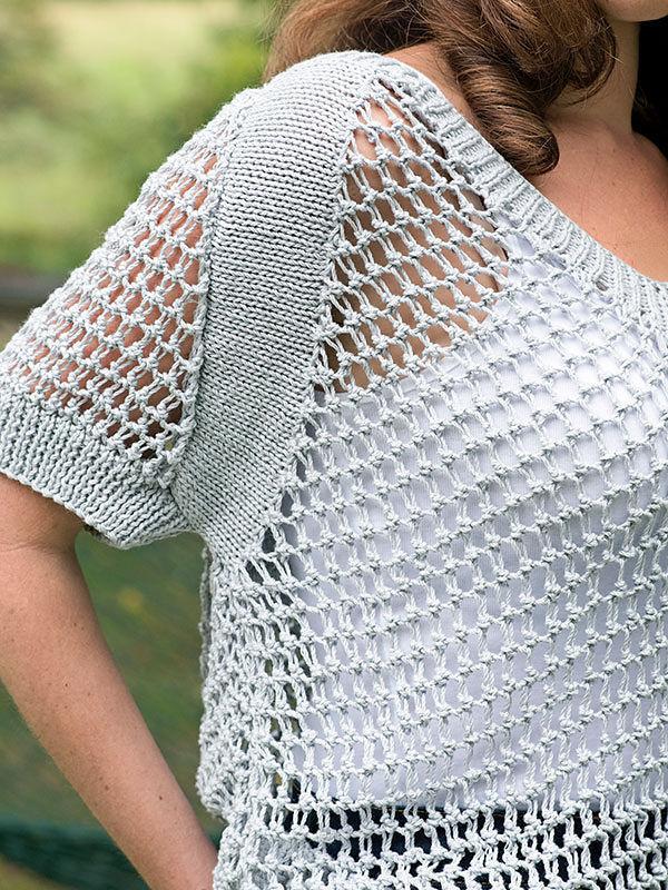 Women's airy top Cibber. Knitting pattern (v-neck, raglan sleeve). 2