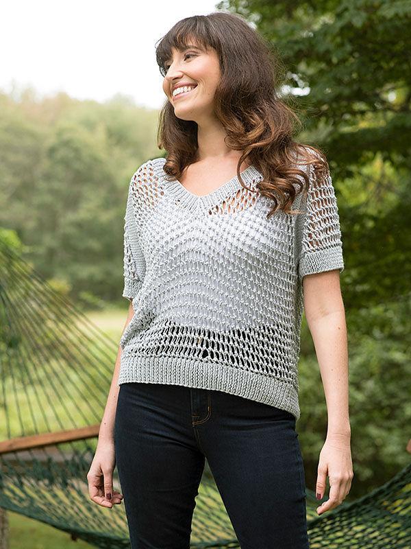 Women's airy top Cibber. Knitting pattern (v-neck, raglan sleeve).