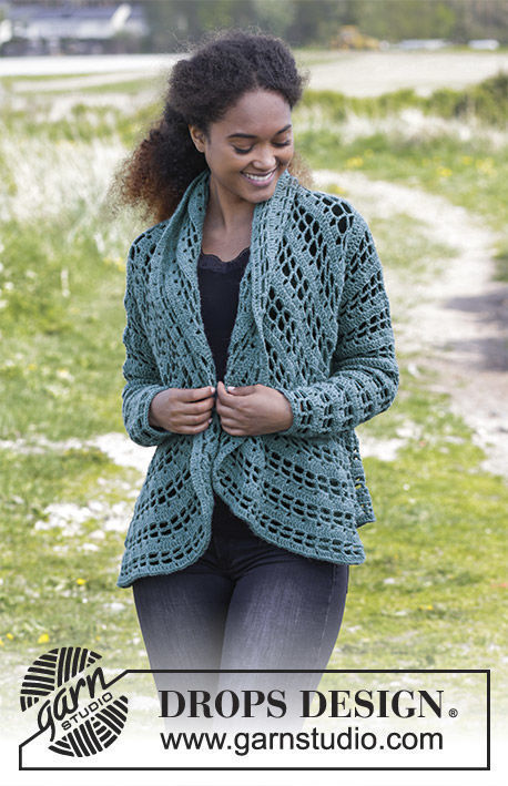 Womens And Girls Crochet Cardigan Ornella Free Pattern V Neck Lace