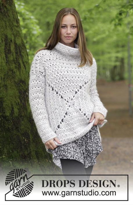 Women's and girls crochet pullover Relax. Free pattern (granny square).