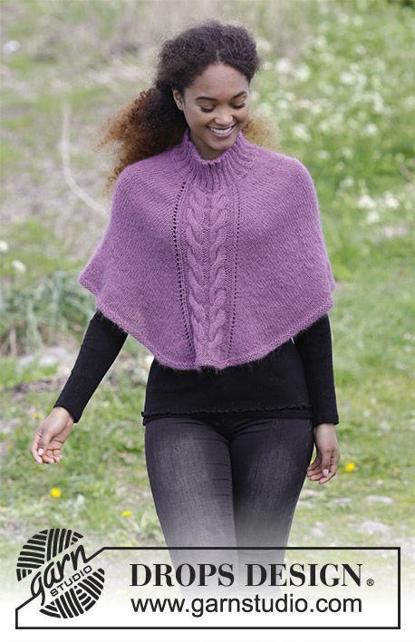 Women's and girls knit poncho Elizabeth. Free pattern (cables, worked in the round).