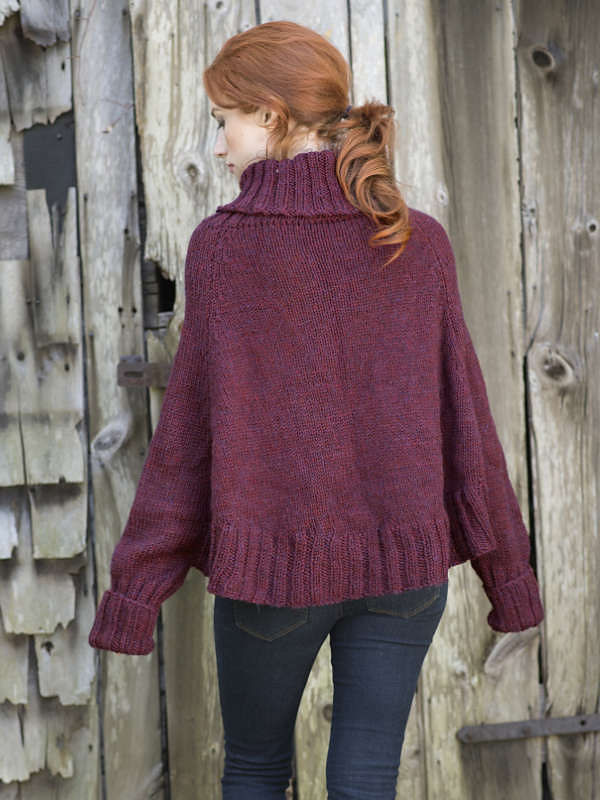 Women's and girls knit poncho Galilee. Free pattern (cables, turtleneck). 3