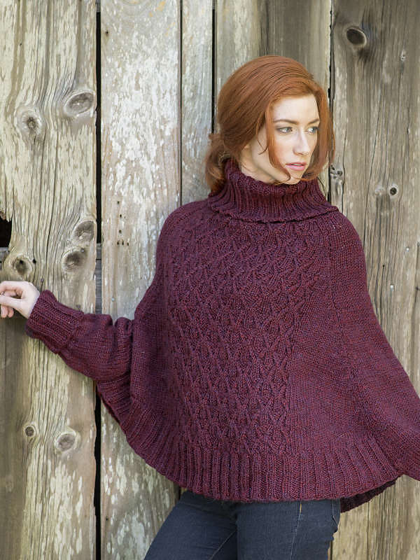 Women's and girls knit poncho Galilee. Free pattern (cables, turtleneck).