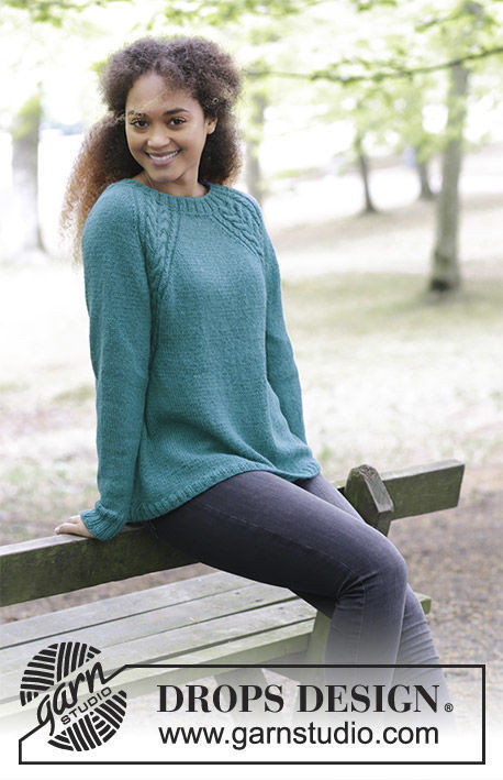 Women's and girls knit pullover Arendal. Free pattern (cables).