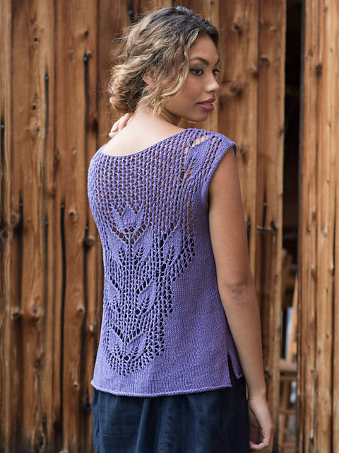 Women's and girls knit sleeveless top Marsh. Free pattern (lace, v-neck).