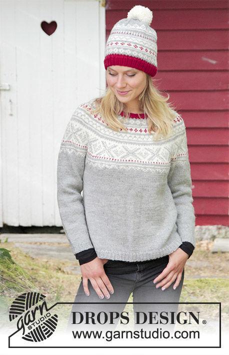 Women's and girls pullover Narvik. Free knitting pattern (norwegian).