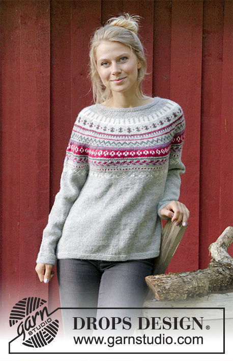 Women's and girls pullover Winter Berries. Free knitting pattern (norwegian).