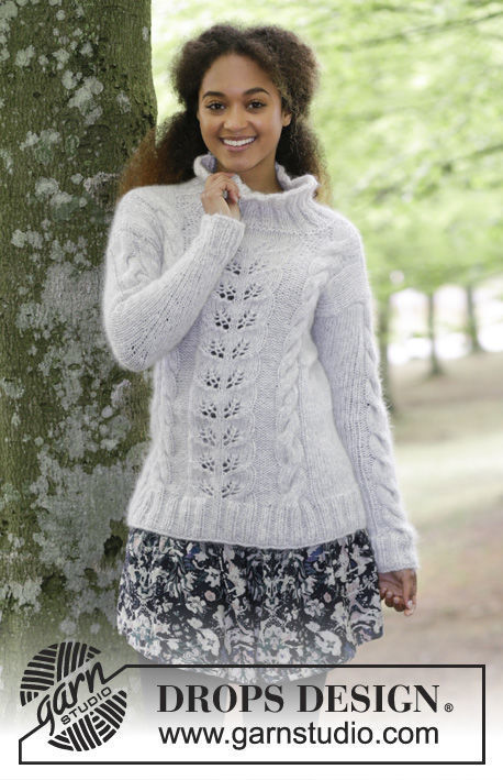 Women's and girls pullover Winter Flirt. Free easy knitting pattern.