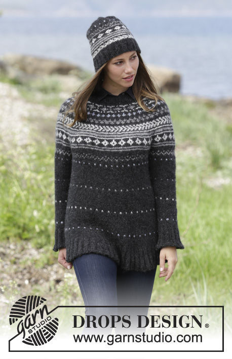 Women's and girls (teen) pullover Night Shade. Free knitting pattern (norwegian; collared).