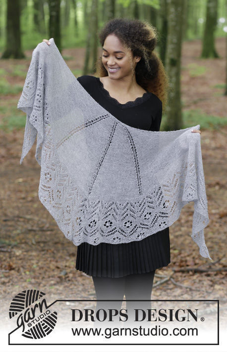 Women's and girls (teen) shawl wrap Wings of Love. Free knitting pattern (Shapes: half circle).