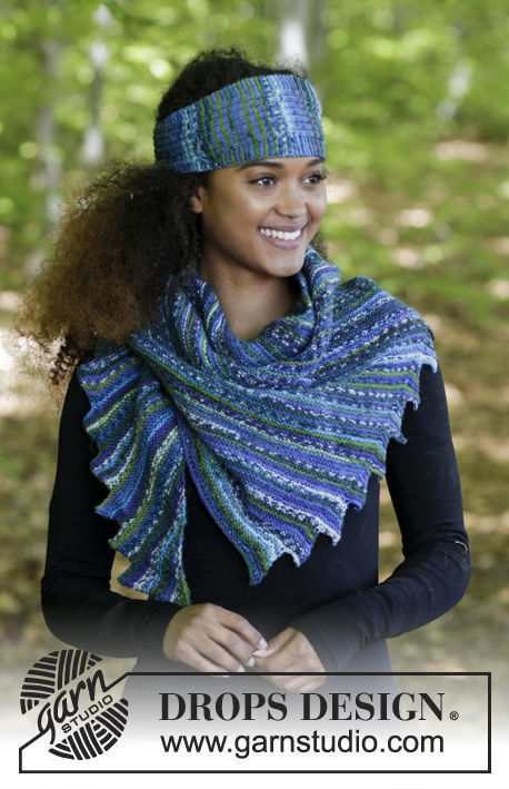 Women's and girls (teen) shawl wrap Winter Tide. Free knitting pattern (notched).