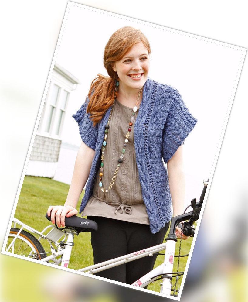 Women's knit cardigan Alder. Free pdf pattern (kimono, cables).