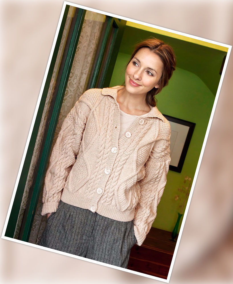 Women's knit cardigan Alexi. Free pattern (cables).