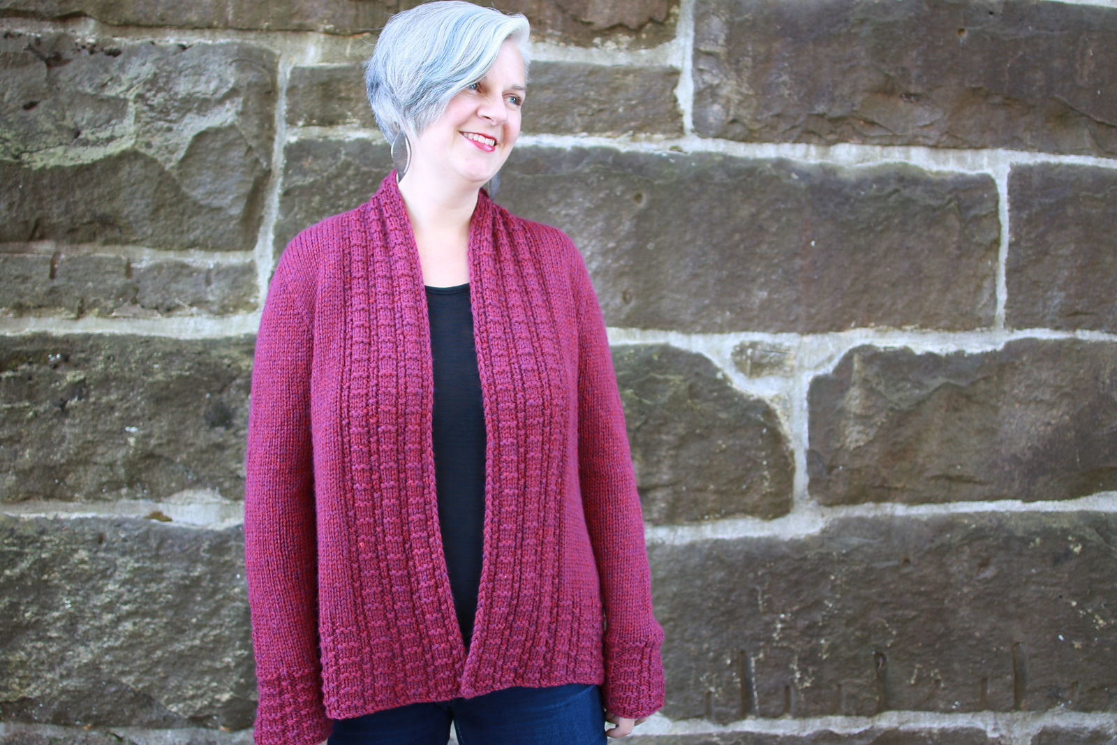 Women's knit cardigan Peverly. Free written pattern.