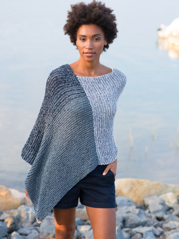 Women's knit poncho Archer. Free easy written pattern.
