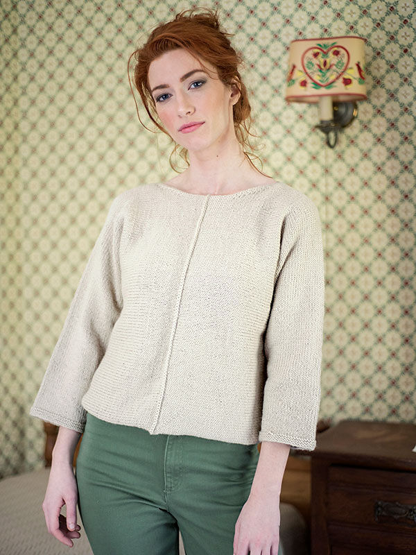 Women's knit pullover Bay. Free written pattern.